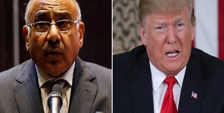 کاخ سفید: ترامپ با عبدالمهدی درباره حفاظت از آمریکایی ها در عراق تبادل نظر کرد
